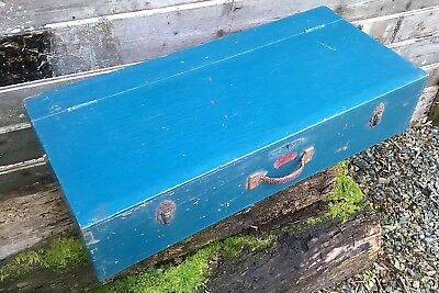Vintage Carpenter's Wooden Pine Tool Box Chest Trunk Storage with Drawer