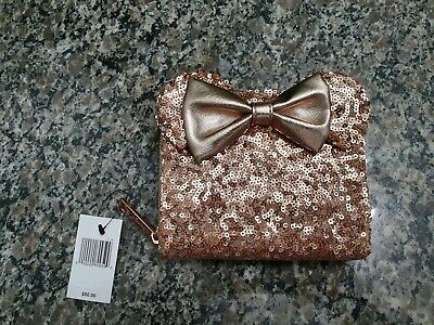 Disney Parks Minnie Mouse Rose Gold Sequined Loungefly Wallet