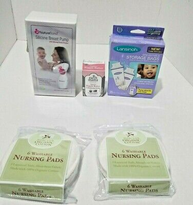 Manual Silicone Breast Pump,Breast Milk Storage bags,nipple cream & nursing pads