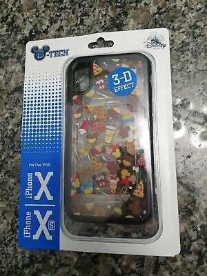 Disney Parks Authentic D-Tech iPhone Clear+3D Effect X XS Case snacks pizza dole