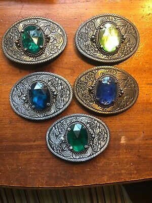 Vintage Western Belt Buckle Lot With Stone. 5 Buckles ! Super Low Starting Bid