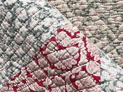 Antique 19th C Welsh Quilt Handsewn Cotton Paisley Flora Wool filling Heirloom