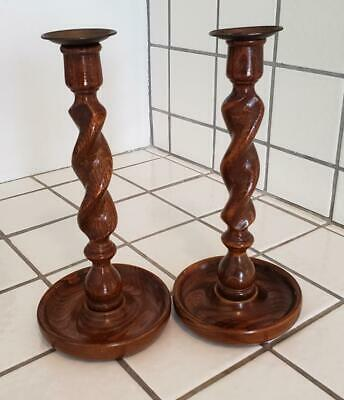 Antique 1890s Barley Twisted Oak Wood Candlesticks Candle Holders Victorian