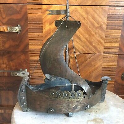 Goberg German metal Arts & Crafts Viking Ship Tabletop Ashtray / Tobacianna