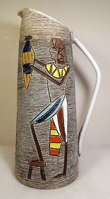 "Fratelli Fanciullacci Italian 11.75"" Egyptian Mid Century Pitcher-Excellent"