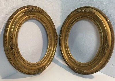Antique PORTRAIT FRAMES wood carved Oval Victorian Formal GOLD GILDED pair (2)