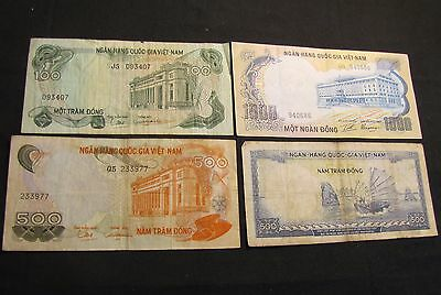 Lot of 4 Vietnam Dong Notes - 1966 500, 1970 500, 1972 1000, 1972 100