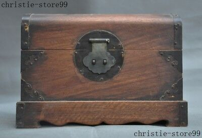 Old China Huanghuali wood inlay Bronze Shell Magpie flower Storage Jewelry Box