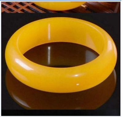 Certified Natural Beautiful yellow Jadeite Jade Bangle Bracelet Handmade 60mm