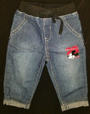Pre-owned Disney Baby Boys' Pull-On Mickey Jeans 3-6M EUC