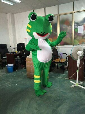 FROG Mascot Costume Adult Deluxe Green Suit Outfit New