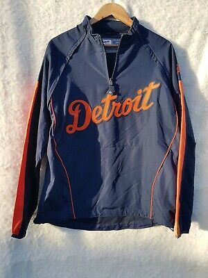 Majestic Detroit Tigers Size L Windbreaker Jacket with Removeable Sleeves