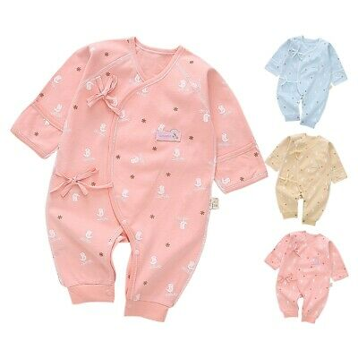 0-3 Months Newborn Infant Baby Clothes Bird Strap Short Sleeve Cotton Jumpsuit