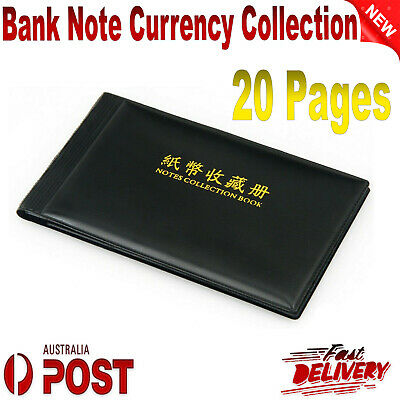 Bank Note Currency Collection Album Paper Money Pocket Holders 40 Notes Black