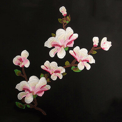 Magnolia Embroidered Blossom Flower Patch Iron/Sew on Applique_Water,Soluble.x