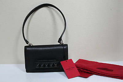 02ee8f46acd Valentino Black Leather Va Va Voom Rockstud Clutch Small Mini Shoulder Bag  Purse