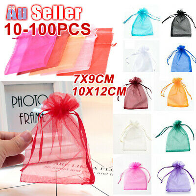 10-100Pcs Candy Organza Bag 2 Size Egg Bags Sheer Wedding Party Easter Gift