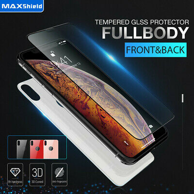 MAXSHIELD iPhone X Xs XR Xs Max 7 8 Front+Back Tempered Glass Screen Protector