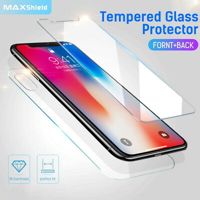 MAXSHIELD iPhone X 8/7 7/8 Plus Front+Back Tempered Glass Screen Protector Cover