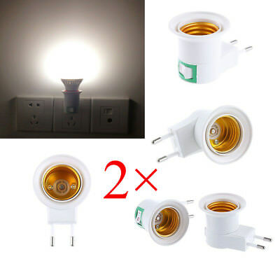 2pcs EU Plug E27 Base LED Light Lamp Holder Bulb Adapter Screw Socket ON/OFF AU