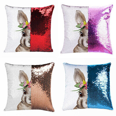 Happy Easter Bunny Sequins Suede Pillow Case Sofa Cushion Cover Decoration