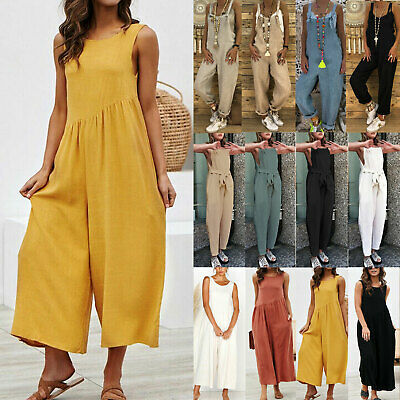 Womens Overalls Dungarees Baggy Harem Playsuit Jumpsuit Summer Beach Pants Party