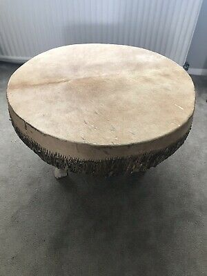Vintage African hide drum Ngoma style hand made converted to side table large