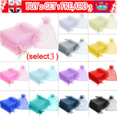 25/50 Organza Wedding Party Favour Gift Candy Bags Jewellery Pouch Large Small C