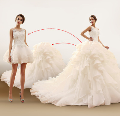 Vintage Lace Beaded Wedding Dress Mini Bridal Gowns Tiers with Detachable Train