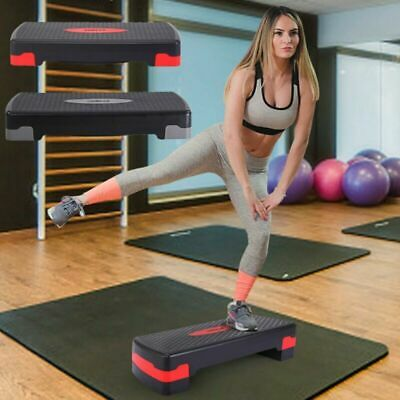"""27'' Fitness Aerobic Step Adjust 4"""" - 6""""Exercise Stepper w/Risers Home Gym Sport"""