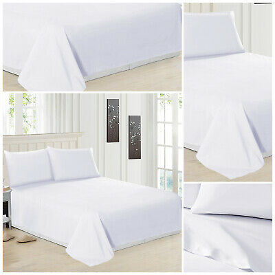 Luxury Egyptian Cotton Plain White Fitted Sheet Bed Sheets Single Double King