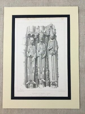 Antique Architectural Print French Gothic Architecture Carved Religious Statues