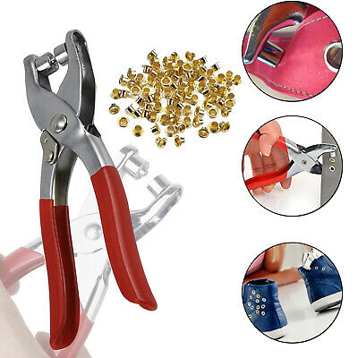 100pcs 4mm Gold Iron Eyelets Grommet with Setting Pliers Tool DIY Leather Craft