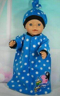 "Dolls clothes for 17"" Baby Born doll~PEPPA GEORGE~BLUE/ SPOT SLEEPING BAG~HAT"