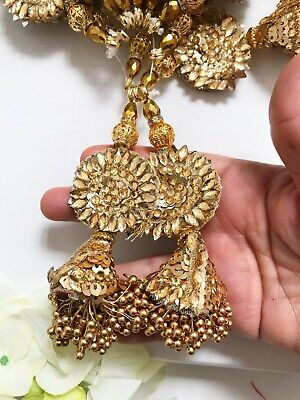 1 Pair Latest Indian Gold Beads Stone Bead Cluster Latkan Sari Blouse Duppata