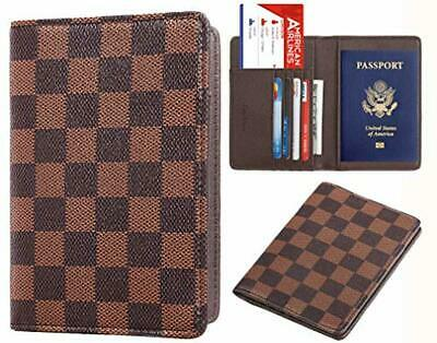 Brown Luxury Passport Holder L Cover Case Checkerboard Checkered Damier V Card