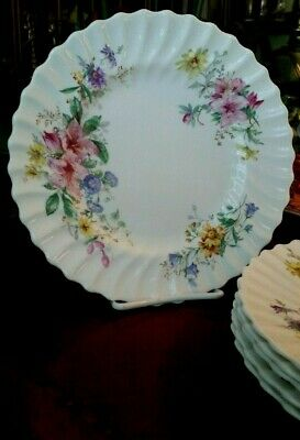 Royal Doulton Arcadia Luncheon Plates Bone China Older Green Backstamp -Lot of 6