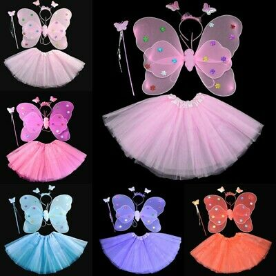4Pcs/Set Kids Girls Fairy Butterfly Wings Tutu Skirt Fancy Dress Cosplay Costume