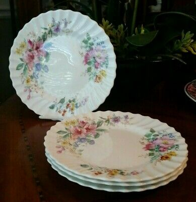 Royal Doulton ARCADIA Salad Plates Bone China Older Green Backstamp lot of 4