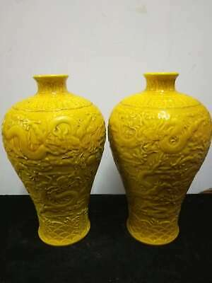 2 x Chinese Porcelain Dragons Vases Yellow Glaze Hand-carved Pot Marks QianLong
