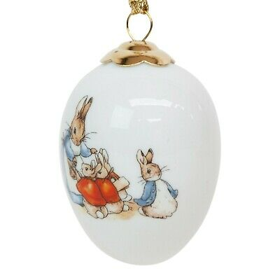 Reutter Peter Rabbit Hanging Porcelain Egg Christmas Bauble Collectable