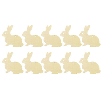 10pcs 6cm Wooden Easter Bunny Wooden Cut Craft Easter Holiday