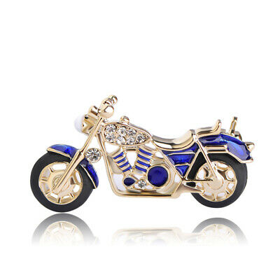 New Fashion Motorcycle Brooches Gold Plated Blue Enamel Crystal Brooch Pin Gift