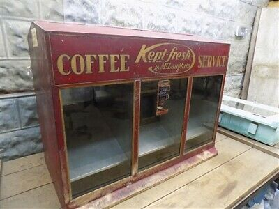 Coffee Service Store Display, Tin Countertop Bin, Vintage Advertising Sign,