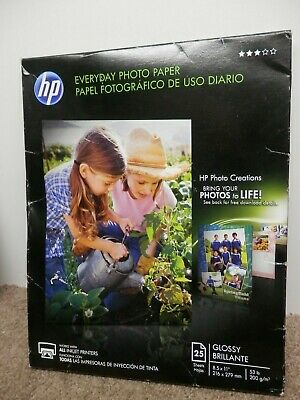 HP Everyday Photo Paper, Semi-Gloss, 25 sheets, 8.5 x 11 (Q5498A)