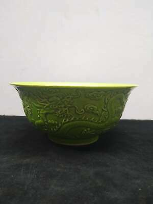 Exquisite Chinese Green Glaze Porcelain Dragons Bowl Hand-carved Marks QianLong
