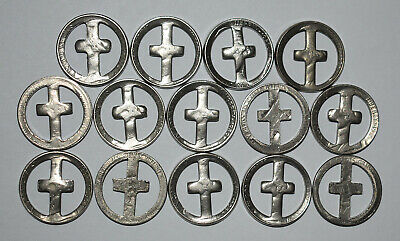1. Lot Of 14 Nickels With Cut-Out Crosses / Religious Theme