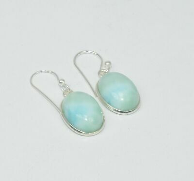 Larimar 100/% Natural Vintage French Clip 10X14mm  925 Sterling Silver Earrings