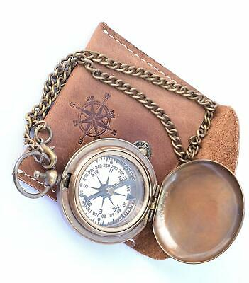 NEOVIVID Handmade Brass Push Open Compass On Chain with Leather Case, Pocket