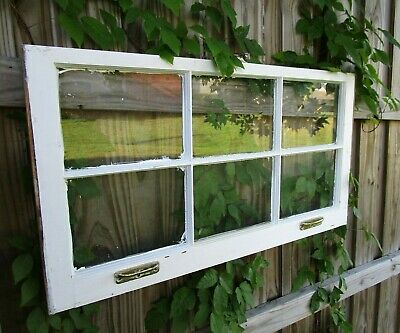 Vintage antique sash 6 pane 36x20 wood window pinterest wedding picture frame 27